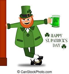 Happy St Patricks Day Leprechaun Drinking Beer