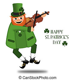 Happy St Patricks Day Leprechaun Fiddler