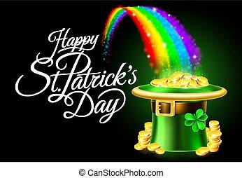 Happy St Patricks Day Leprechaun Hat Rainbow Sign