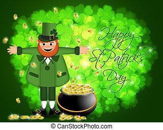 Happy St Patricks Day Leprechaun Pot of Gold