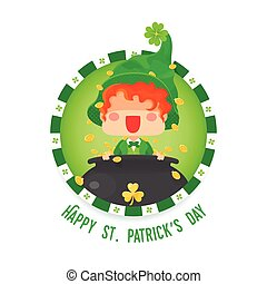 Happy St. Patrick's Day Leprechaun with Pot of Gold