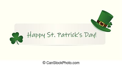 happy St. Patricks Day paper label with hat and clover ...
