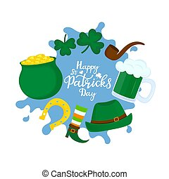 Happy St. Patrick's Day poster. A pot of gold, mug of beer, a horseshoe for good luck, a shamrock, a green hat are attributes of a national Irish holiday