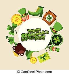 happy st patricks day round badge leprechaun hat shoe coin barrel clover