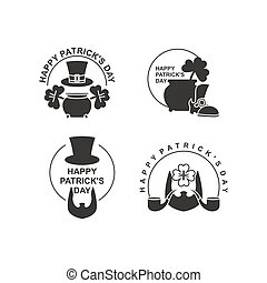 Happy St. Patricks day set of emblems. Pot with leprechaun gold. Clover and an old shoe. Beard and pipe. Hat cylinder. Irish March 17 holiday accessories