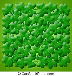 Happy St Patricks Day Shamrock Leaves Background