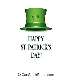 happy st patricks day - vector white background with green hat