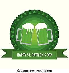 Happy St. Patrick's Round Banner Badge with Pints of Green Beer Flat