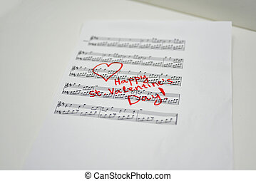 Happy st. Valentines day. Abstract idea on music sheet.
