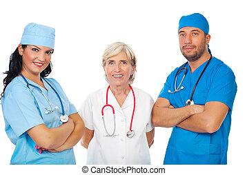 Happy staff of doctors