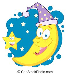 Happy Star And Moon Mascot Cartoon Characters