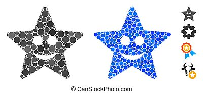 Happy Star Composition Icon of Round Dots