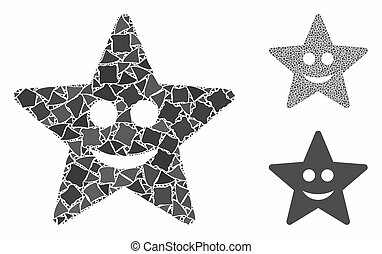 Happy star Mosaic Icon of Joggly Elements