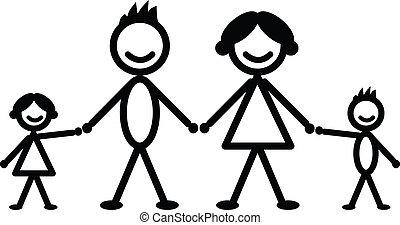 Happy stick family figures vector