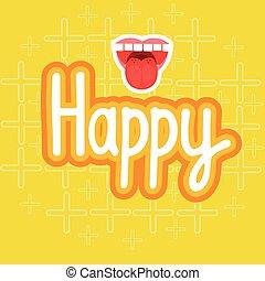 Happy Sticker Social Media Network Message Badges Design