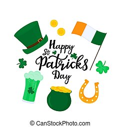 Happy St.Patrick 's Day banner. Green hat, a pot of gold coins, shamrock, horseshoe, beer.