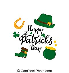 Happy St.Patrick 's Day banner. Green hat, a pot of gold coins, shamrock, horseshoe.