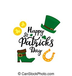 Happy St.Patrick 's Day banner. Green hat, gold coins, shamrock, horseshoe and leprechaun boot.
