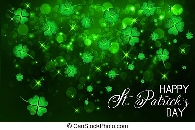 Happy St.Patrick's Day Background. Shining Shamrock Space with t