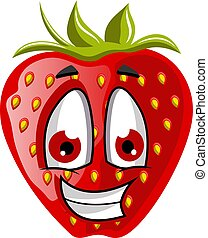 Happy strawberry face illustration vector on white background