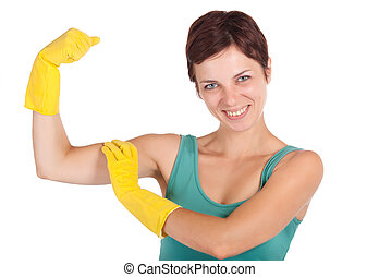 happy strong cleaning woman
