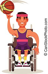 Happy strong man character sitting in wheelchair and playing...