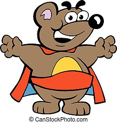 Happy Strong Super Hero Bear