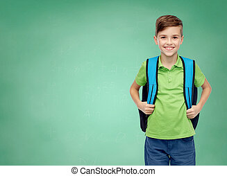 happy student boy with school bag