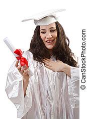 Happy student celebrating graduation on white