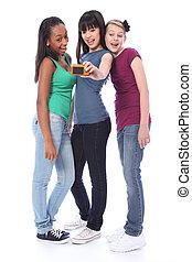 Happy student girl friends fun self photograph