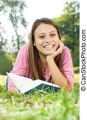 Happy student girl relaxing