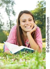 Happy student girl relaxing