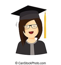 Happy student girl vector illustration, female character in graduation hat