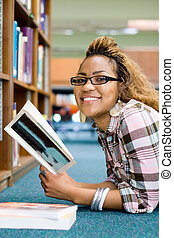 happy student in library