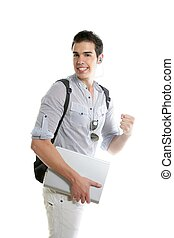 Happy student positive gesture with laptop