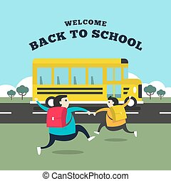 Happy student running to the bus for go to school. Welcome back to school concept.