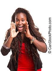 Happy student - Very happy woman screaming of joy, isolated...