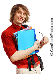 Happy student with books - Happy smiling student standing...