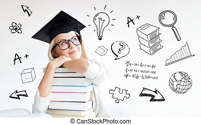 happy student woman in mortarboard with books - education, ...