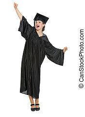 Happy student woman rejoicing graduation isolated - Happy...