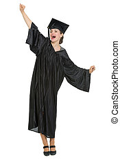 Happy student woman rejoicing graduation isolated