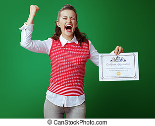 happy student woman with Certificate of Graduation rejoicing