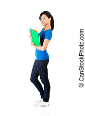 Happy student woman with notebooks