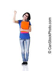 Happy student woman