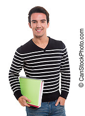 Happy student - Young happy student posing isolated over...