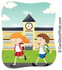 Happy Students Going to School