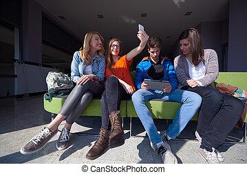 students group taking selfie