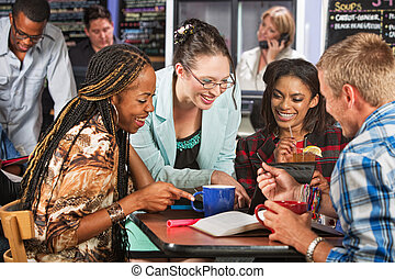 Happy Students in Cafe