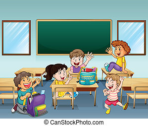 Illustration of happy students inside a classroom
