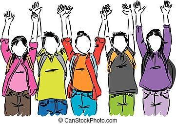 happy students raising hands vector illustration